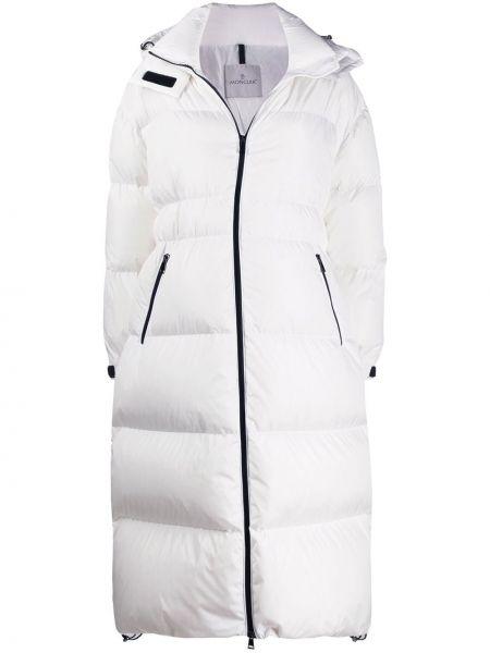 Пальто с капюшоном оверсайз с воротником на молнии айвори Moncler