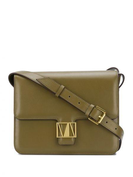 Золотистая зеленая сумка через плечо на молнии с карманами Manu Atelier
