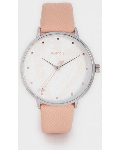 Часы с круглым циферблатом розовый Parfois