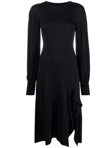 Черное платье со вставками с драпировкой с вырезом Temperley London