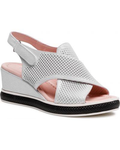 Białe sandały srebrne Badura