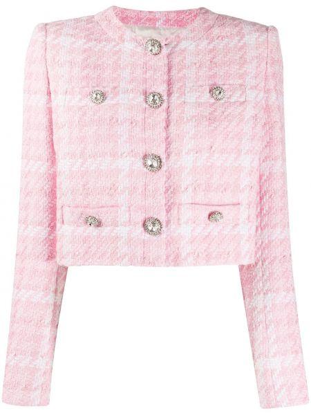 Розовый короткая куртка твидовый с карманами Alessandra Rich