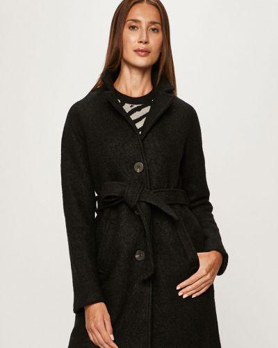 Czarny płaszcz wełniany z kapturem Vila