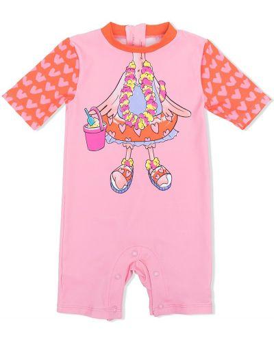 Różowy strój kąpielowy krótki rękaw z printem Stella Mccartney Kids