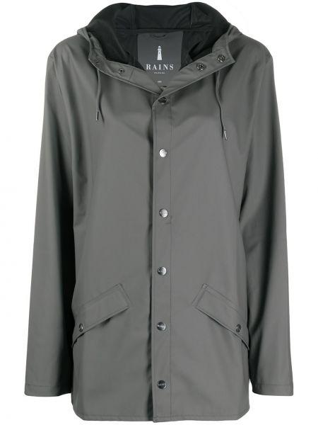 С кулиской с рукавами серое длинное пальто с карманами Rains