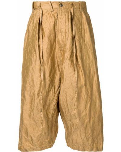 Прямые шелковые коричневые прямые брюки с низкой посадкой Forme D'expression