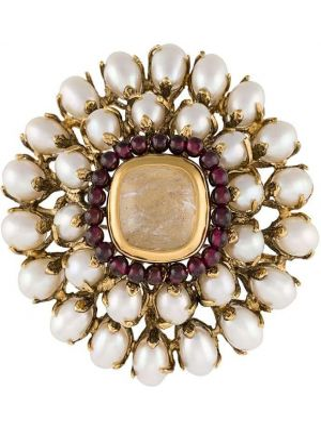 Broszka pozłacany z perłami Goossens