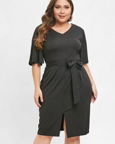 Платье с поясом приталенное черное Zaful