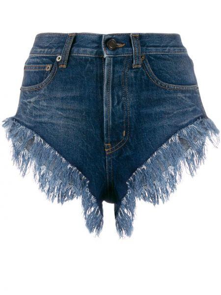 Джинсовые шорты с бахромой с карманами Saint Laurent