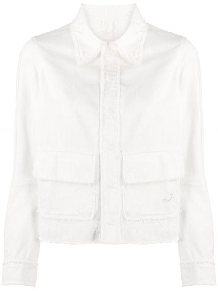 Белая джинсовая куртка с бахромой с воротником Jacob Cohen