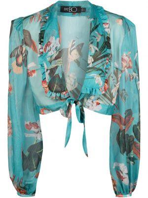 Bluzka w kwiaty - niebieska Patbo