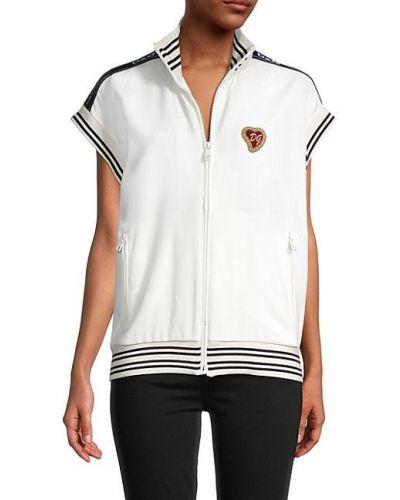 Biała kamizelka sportowa z wiskozy w paski Dolce And Gabbana