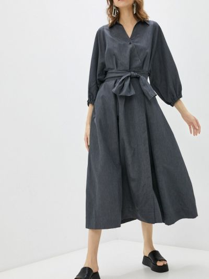 Серое платье с запахом энсо