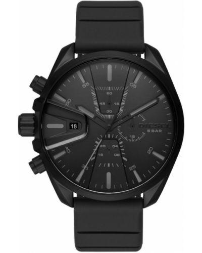 Czarny zegarek kwarcowy z paskiem skórzany Diesel