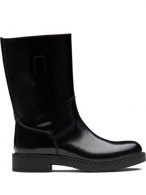 Czarny buty skórzane z prawdziwej skóry okrągły okrągły nos Prada
