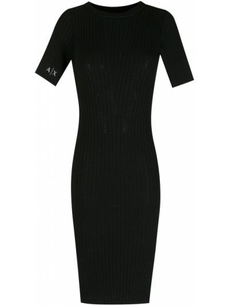 Платье миди с короткими рукавами - черное Armani Exchange