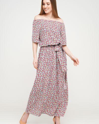 Розовое платье макси с поясом Modniy Oazis