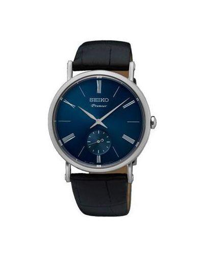 Часы водонепроницаемые с кожаным ремешком кварцевые Seiko