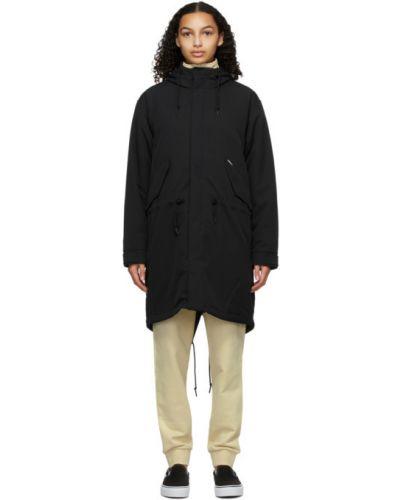 Czarny z rękawami długo płaszcz z kieszeniami z mankietami Carhartt Work In Progress