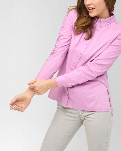 Fioletowa koszula bawełniana z długimi rękawami Orsay