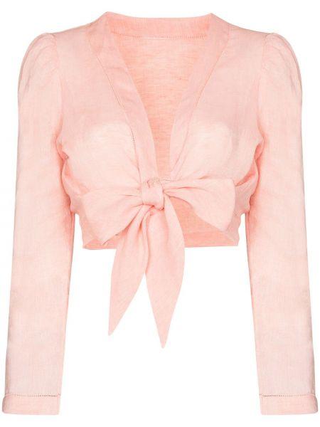 С рукавами розовая блузка с длинным рукавом с завязками Lisa Marie Fernandez