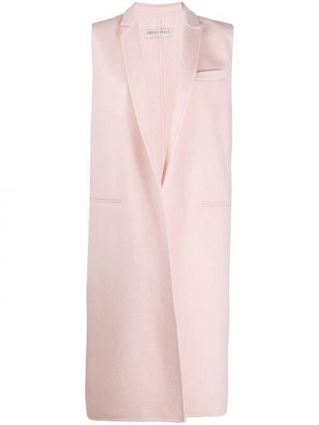 Шерстяное розовое пальто без рукавов Emilio Pucci
