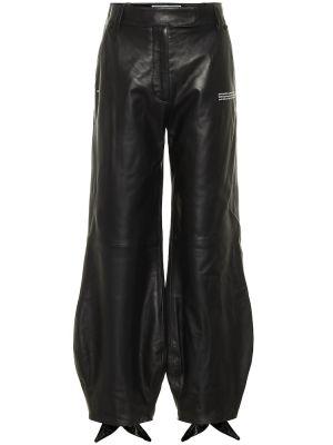 Кожаные черные брюки с манжетами Off-white