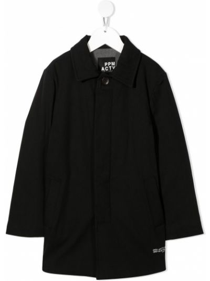 Черное длинное пальто с воротником с карманами Paolo Pecora Kids