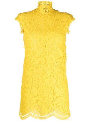 Ажурное желтое платье мини с воротником Dsquared2