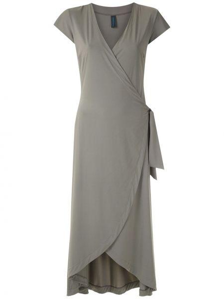 Серое платье миди с запахом с V-образным вырезом на молнии Lygia & Nanny