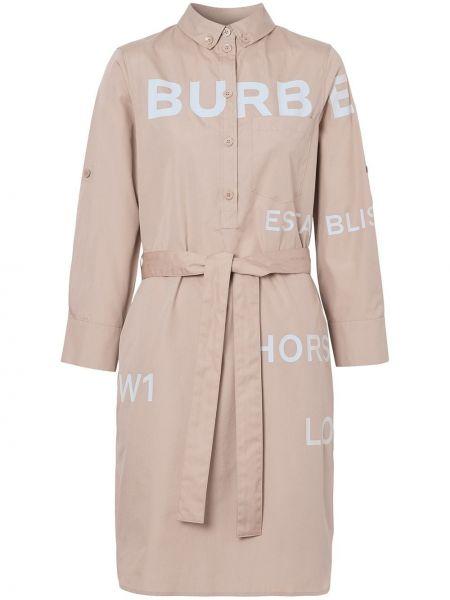 Бежевое платье с воротником на пуговицах Burberry