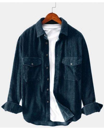 Синяя рубашка вельветовая с карманами Zaful