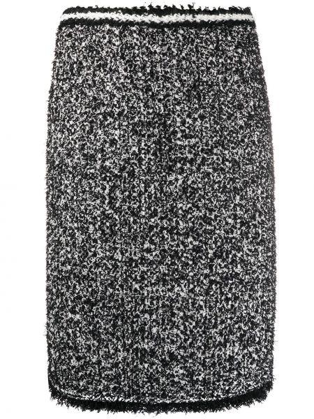 Черная акриловая прямая с завышенной талией вязаная юбка Giambattista Valli