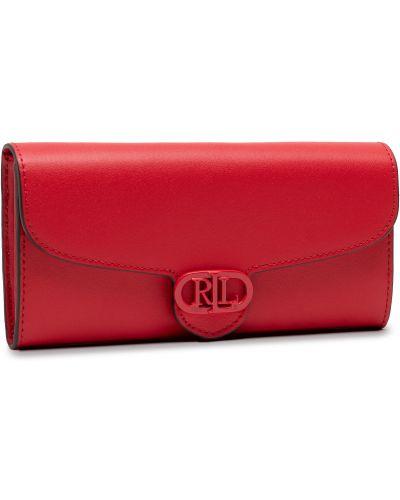 Czerwony portfel oversize Lauren Ralph Lauren