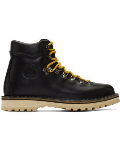 Кожаные черные сапоги с высоким голенищем на шнуровке круглые Diemme