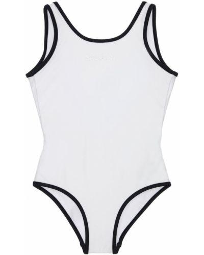 Z paskiem biały strój kąpielowy na paskach z dekoltem Balmain