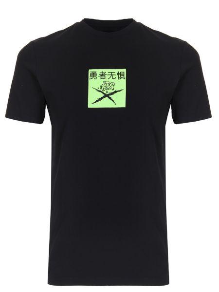 Хлопковая спортивная черная спортивная футболка с круглым вырезом Plein Sport