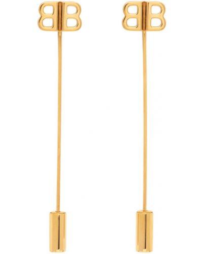 Мерцающие серьги-гвоздики золотые Balenciaga