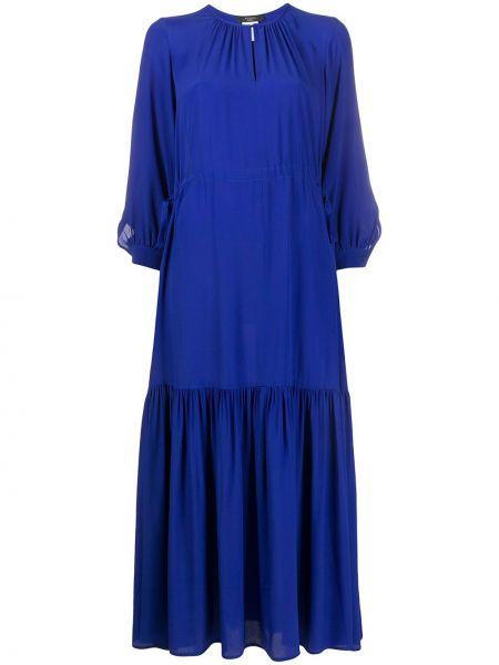 Шелковое расклешенное платье миди на пуговицах с вырезом Weekend Max Mara