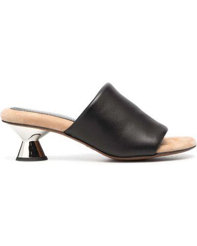 Czarne sandały skorzane peep toe Proenza Schouler