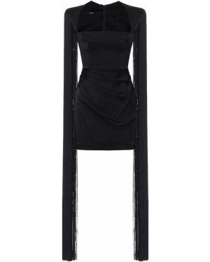 Платье мини атласное - черное Alex Perry