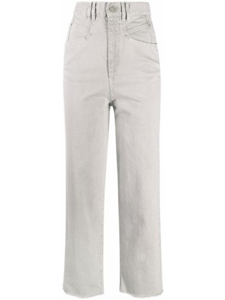 Прямые серые укороченные джинсы с поясом Isabel Marant