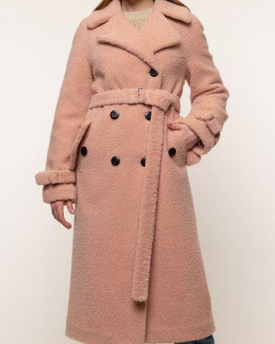 Розовое шерстяное пальто с воротником Aliance Fur
