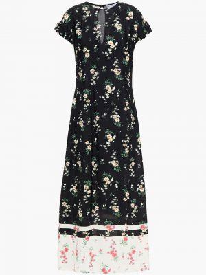 Czarna sukienka midi z wiskozy z printem Vivetta