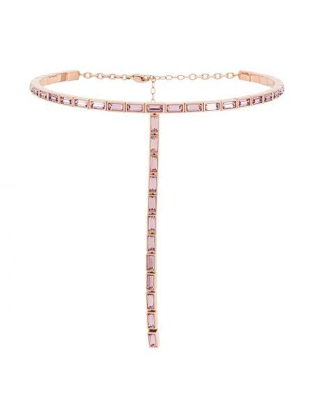 Różowy naszyjnik srebrny Atelier Swarovski