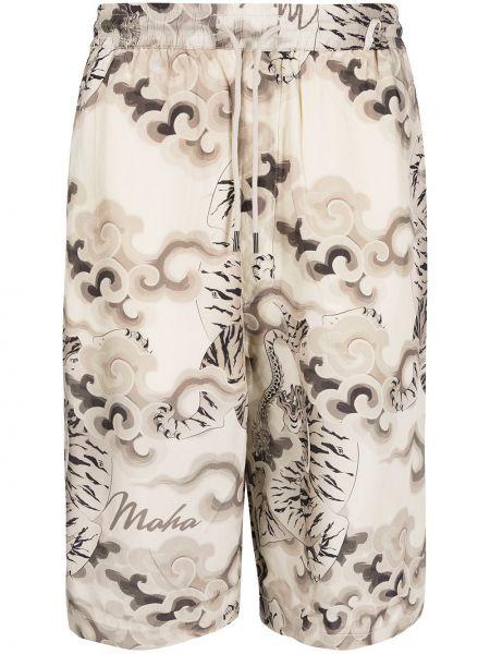 Бежевые шорты с принтом Maharishi