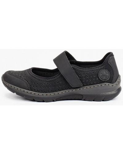 Черные кожаные туфли Rieker