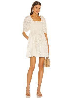 Хлопковое деловое платье мини кремовое Cleobella