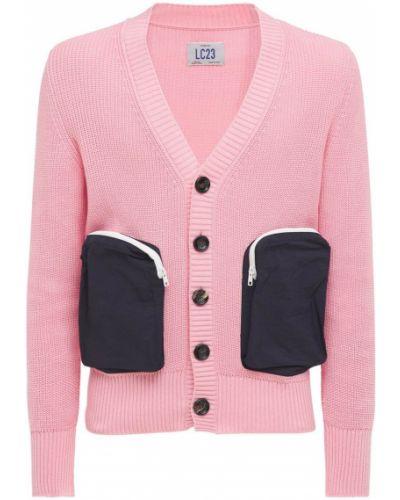 Prążkowany różowy kardigan bawełniany Lc23