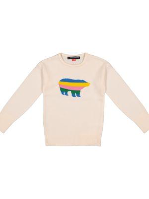Biały wełniany sweter z niedźwiedziem Perfect Moment Kids